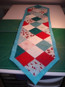 Turquoise & Red Charm tablerunner