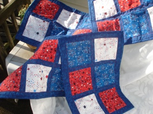 red, white and blue placemats