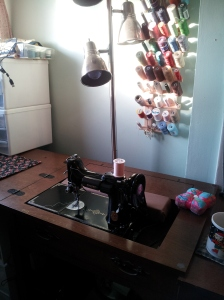 My Featherweight in cabinet